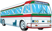 An Illustration of a passenger bus painted with the national colors of Mexico