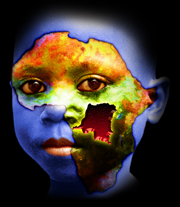 Photo illustration showing the face of a child from the DR Congo with a map of Africa overlaid on their face