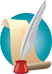 An illustration of a quill pen resting in a red inkwell in front of a sheet of parchment paper on a circular turquoise field