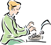 An illustration of a woman typing on a portable manual typewriter