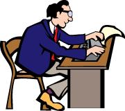 An illustration of a man preparing to type on a manual typewriter