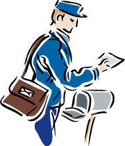 An illustration of a postal carrier putting letters in a mailbox