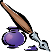An illustration of a glass inkwell and a vintage fountain pen with a wooden handle. The inkwell is filled with purple ink and has a heart-shaped reflection.