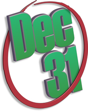 An illustration of the date Dec 31 circled in red and rendered in 3D