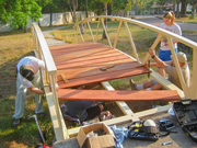 A photo of some of the members of the CAA/Vancouver SDA mission group repairing the on-campus bridge while volunteering at the ICC project in El Salvador