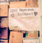 Photo of a large home-made sign taped inside the container with a message for to the children and staff of ICC Congo