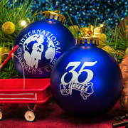 A photo of the 35th anniversary Christmas ornaments with the ICC logo