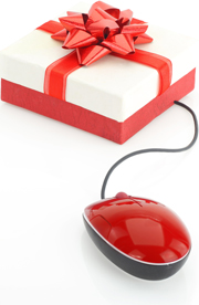 photo illustration of a red and white gift box tied with a red ribbon with a red computer mouse attached by its cable