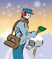 An illustration of a postal carrier wearing a red and green scarf and red ear muffs in addition to his uniform delivering mail during a light, early-morning December snowfall