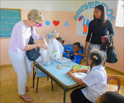 photo of Nancy Wilson wife, of the President of the General Conference of Seventh-Day Adventist Church, Ted Wilson, visiting ICC's Las Palmas Children's Village in the Dominican Republic