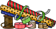 An illustration of rolls of Christmas gift wrap and spools of ribbon