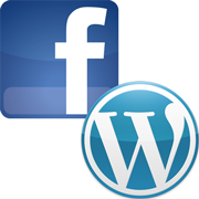 An illustration of the Facebook and Wordpress logos