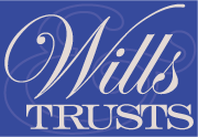 A graphic with the words wills and trusts